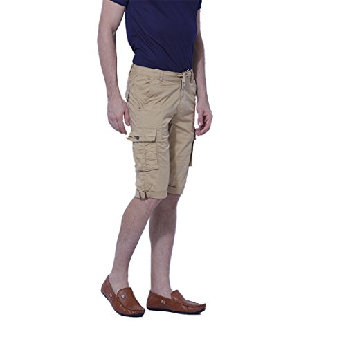 BEEVEE-Mens-Khaki-cargo-solid-three-fourth-length-shorts-cotton-stretch-fabricelasticated-waistband-with-drawstringhas-Four-pockets-on-the-front-TWO-pockets-on-the-back