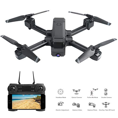 OKPOW 4K Camera Drone, Optical Flow Positioning Dual Cameras Smart Follow  Wifi FPV Drone with Remote Adjustable 4K Wide Angle HD Camera, Foldable RC