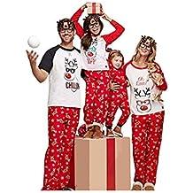 CHRONSTYLE Pijamas Dos Piezas Familiares de Navidad, Conjuntos Navideños de Algodón para Mujeres Hombres Niño