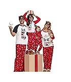 douleway Pigiami Natale Famiglia, Indumenti da Notte Costume Cotone Camicie Manica Corta + Pantaloni Lunga Abbigliamento Felpa Natale Invernale Primaver per Uomini Donne Bambini-Bambini