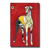 HY&GG Moderne Wand Kunst Ölmalerei Abstrakte Reizenden Hund Bilder Von Hand Gemalt Auf Leinwand Mit Gespannten Rahmen, Mit Gespannten Rahmen, 24