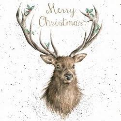 Luxus-Weihnachtskarten (WRE6454) - Weihnachts-Hirsch - Box mit 8 Stück - Wrendale Designs