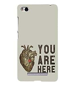 FUSON You Are Here Heart 3D Hard Polycarbonate Designer Back Case Cover for Xiaomi Mi 4i :: Xiaomi Redmi Mi 4i