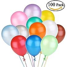 NUOLUX Globos de látex Color brillante de 100pcs surtidos de 12 pulgadas (Color al azar)