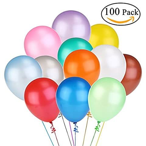 NUOLUX 12 Inch Assorted Bright Color Latex Balloons 100pcs (Random Color)