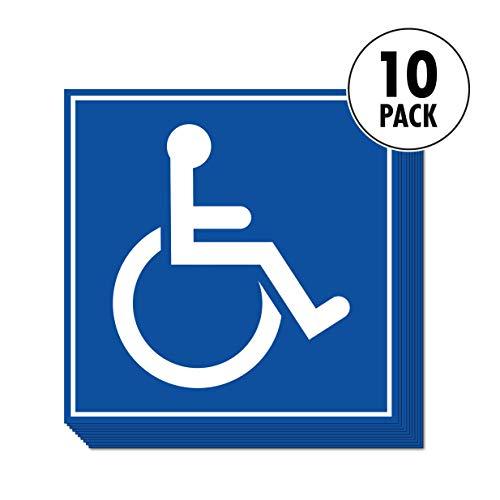 Sutter Signs Aufkleber für Behindertenparken, Rollstuhlrampen und barrierefreie öffentliche Toiletten, 14 x 14 cm, 10 Stück (Sign Aufkleber)