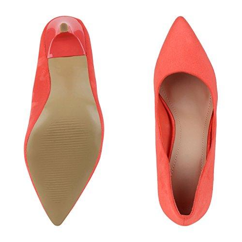 Stilvolle Damen Pumps | Modische Akzente durch spitze Schuhform & Lack | Party oder Business Coral Velours