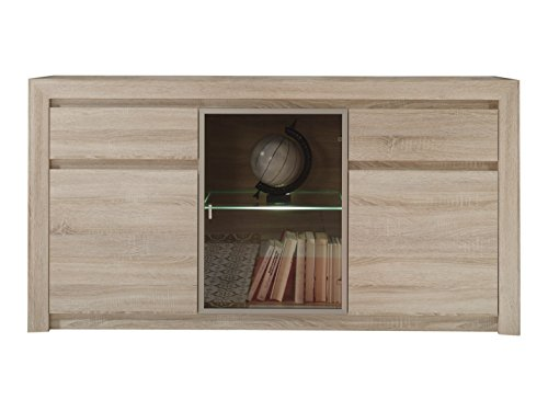 trendteam Wohnzimmer Sideboard Kommode Schrank Sevilla, 164 x 85 x 41 cm in Eiche Sägerau Hell Dekor mit LED Glasbodenbeleuchtung in Warm Weiß -