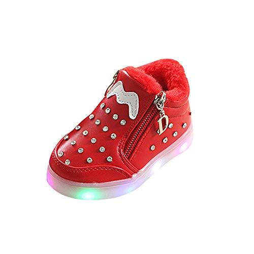 ODJOY-FAN Kinder Mädchen Strass LED Licht Sneaker Leuchtend Weicher Boden Reißverschluss Schuhe Leichte Schuhe Beleuchtung Schuhe Kristall Leuchtend Laufen Sportschuhe (Rot,21 CN)