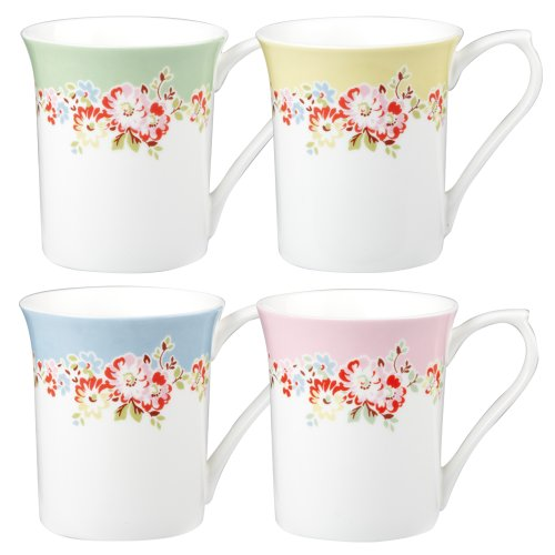 Cath Kidston Bleached Flowers Royale Mug, Set Of 4