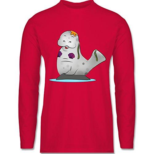 Sonstige Tiere - Meerjung-Seekuh - Longsleeve / langärmeliges T-Shirt für Herren Rot