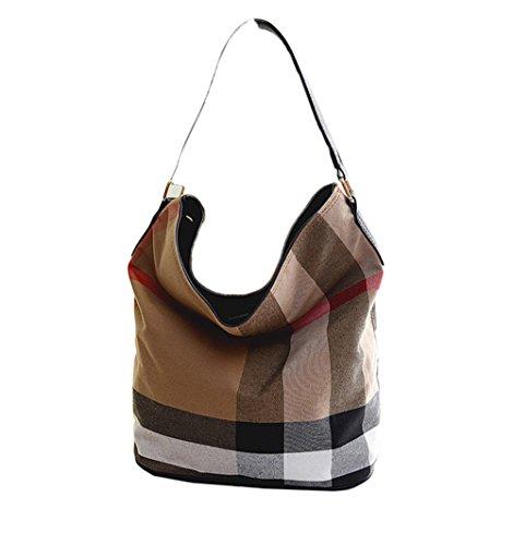 wewo Modisch Canvas Damen Schultertasche kariert Handtasche mädchen umhängetasche Vintage henkeltaschen lässig damentaschen Shopper Bucket Bag (schwarz) -