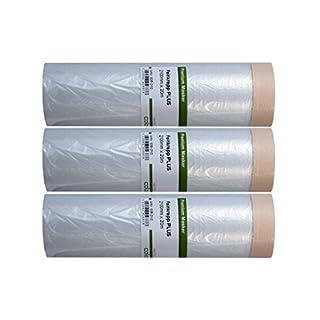 3 x Colorus Masker Tape PLUS Malerkrepp 210 cm x 20 m | Abdeckfolie mit Klebeband für glatte und leicht raue Untergründe | Selbstklebende Maler-Abdeckfolie | Abdeckfolie selbstklebend