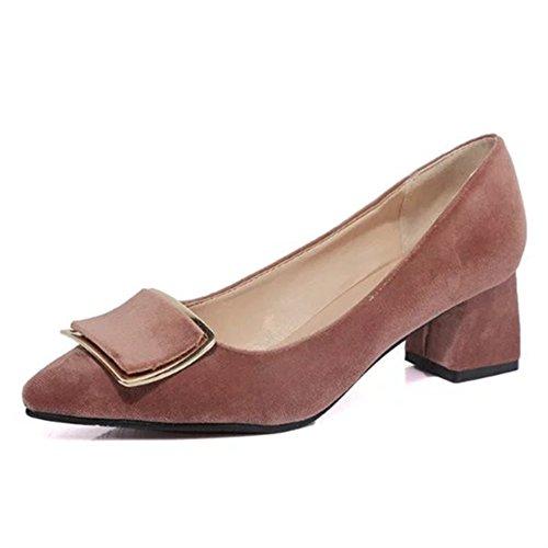 L'Europe et le côté vent boucle mode Chaussures femmes/pointes orteils chunky talons chaussures/Chaussures légères B
