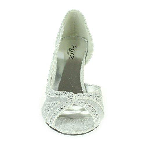 ... Frau Damen Strass Schimmer Seite Schnitt Peep Toe Mittlere Absatz Abend  Hochzeit Party Prom Sandalen Schuhe ... 7a58d8670c