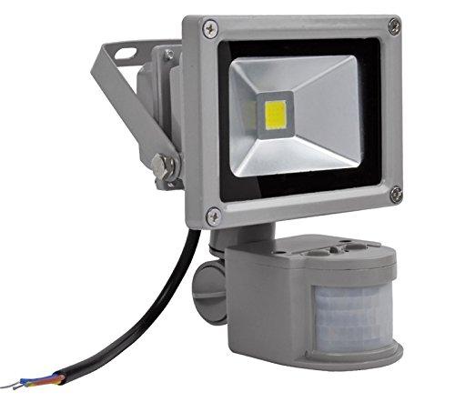 HimanJie LED Fluter Spot Außenstrahler Flutlich Strahler + Bewegungsmelder ausser Scheinwerfer Außenwandleuchte wasserdicht IP65 (kaltweiß(10W)) - Bewegungs-sensor Flut-licht Führte