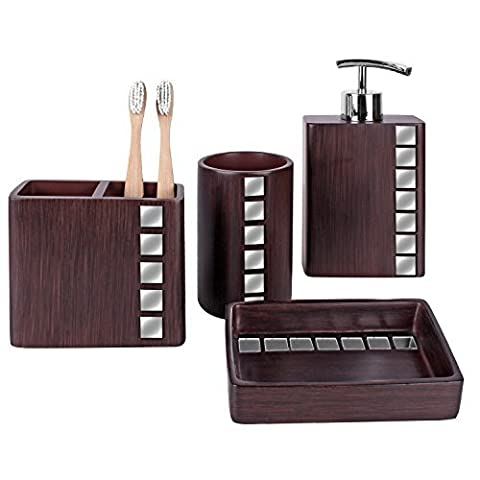 Creative Scents Marquee Bath Ensemble, 4 Piece Bathroom Accessories Set, Marquee Collection Bath Set Features Soap Dispenser, Toothbrush Holder, Tumbler, Soap Dish - Accented with Small Square