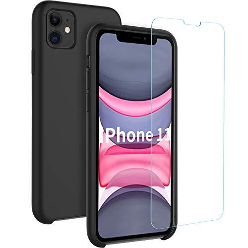 EasyAcc Hülle für iPhone 11 Silikon Case + Panzerglas 9H Schutzfolie, Weich Handyhülle Tasche Cover mit Microfaser Futter Stoßfest Fallschutz Schutzhülle Kompatibel mit iPhone 11 6.1'' - Schwarz