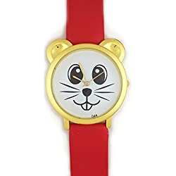 *UK* ANALOGUE CUTE MOUSE FACE WRIST WATCH with GOLD EARS and RED STRAP! BEAR CAT HAMSTER RAT DEGU