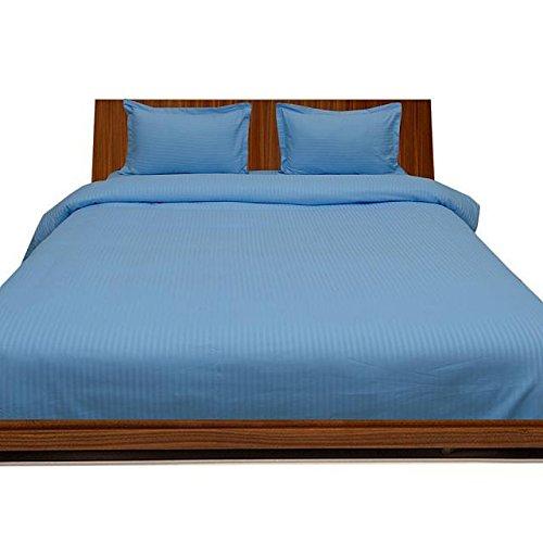 SRP Linen Premium Qualität Ägyptische Baumwolle 400-thread-count 400-tc Bettlaken mit extra UK Kissenbezug Single Sky Blau gestreift 100% Baumwolle Italienisches Finish -