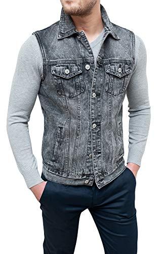 Spring Giubbotto Smanicato Jeans Uomo Casual Grigio Cardigan Gilet Slim Fit Aderente (L, Grigio)