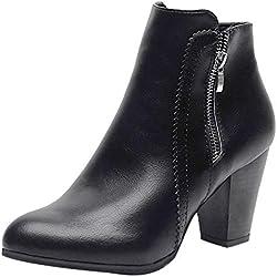 bce3802f424 Botas Cortas para Mujer,Mujeres Vintage Grueso Tacones Altos talón Botines  Zapatos de Cremallera Botines