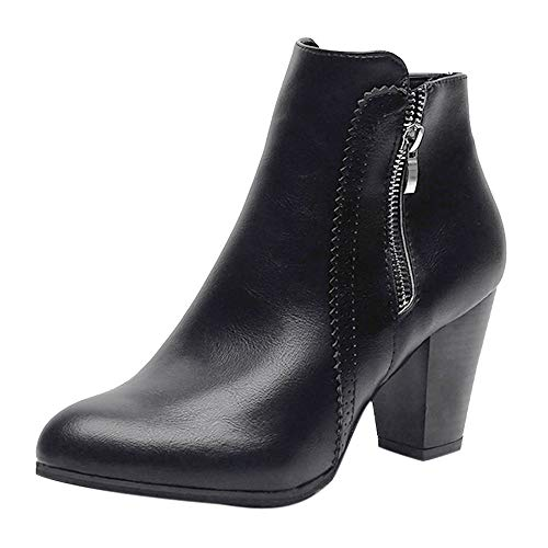 Damen Stiefel Casual Zip Vintage Chunky High Heels Starke Ferse Kurze Stiefel Ankle Booties Reißverschluss Schuhe Worker Boots -