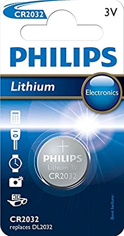 Philips CR2032 Lithium-Knopfzelle / Akku, 3 V, 3 g, 40 x 60 x 6 mm