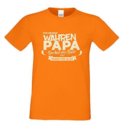 Geburtstag, Geburtstagsgeschenk Herren T-Shirt Funshirt Für meinen wahren Papa Geschenkidee, Geschenkset, auch in Übergröße Farbe: orange Orange
