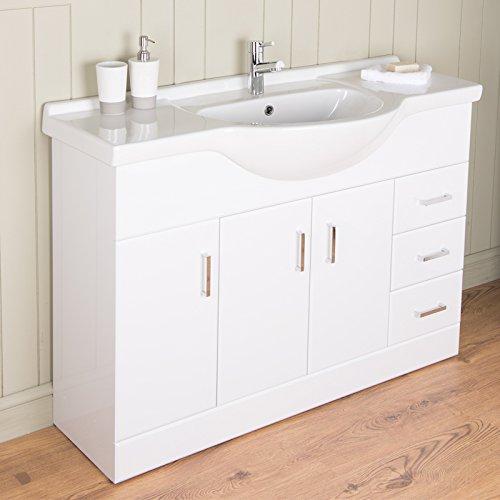 Badmöbel Badezimmermöbel Waschbecken Unterschrank Freistehend 1200mm Weiß