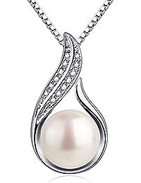 B.Catcher Kette Damen Perle 925 Sterling Silber Halskette Anhänger 7mm Süßwasser Zuchtperle Schmuck 45CM Kettenlänge Geschenk für Damen