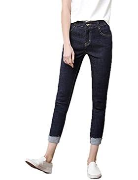 Anguang Mujer Alto Cintura Jeggings Pantalones Flaco Delgado Ajuste Mezclilla Pantalones
