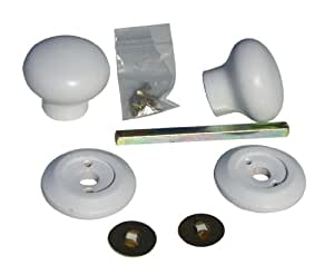 1 x Mortice 56mm door knob set in solid wood in white satin sheen finish.