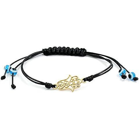 Ciondolo HAMSA a forma di mano di FATIMA, con cordoncino, colore: Nero/Oro, Taglia: Regolabile & NICKEL FREE - Mano Crafts
