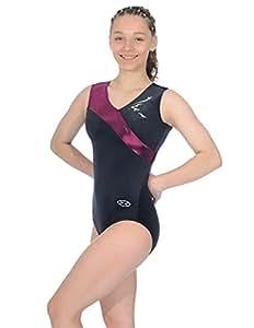 The Zone Z345 Rhythm justaucorps de gymnastique sans manches avec col asymmetrique, noir/fruits rouges, taille 38
