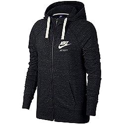 Nike Sportswear Gym Vintage Hoodie FZ Sweat à Capuche Femme, Noir (Black/Sail 010), FR : M (Taille Fabricant : M)