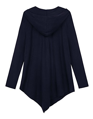 Urbancoco Damen Lose Zip Hooded Sweatshirt Jacke Handchief Saum Navy