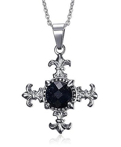 Vnox Men's Vintage Stainless Steel Fleur De Lis Crystal Cross Necklace Pendant Punk Gothic Biker