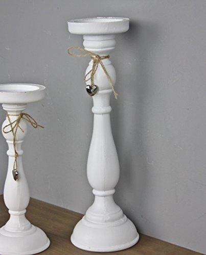 elbmöbel Kerzenhalter 37cm in weiß antik, aus Holz mit Herz in silber, Landhaus Deko Kerzenständer (Candle Und Silber Gold Sticks)