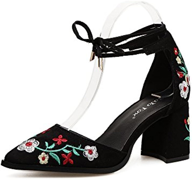 ZHZNVX La Primavera y el Verano Tacones Altos como Consejos de Moda, Zapatos Bordados Retro-Flor de luz Chica... -