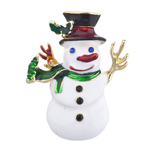 Lux Accessories Christmas X-mas Holiday Snowman Enamel and Gold Tone Brooch
