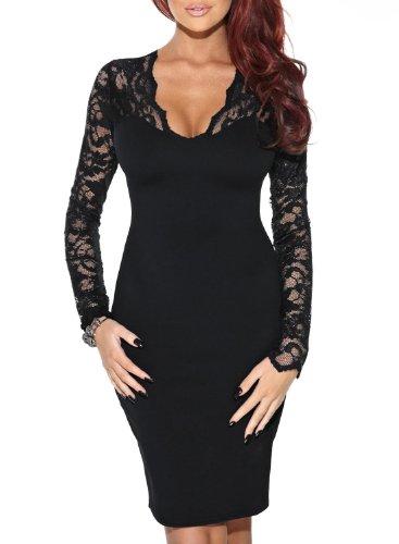 Miusol Vestidos Para Mujer Verano Vintage Deep V-Neck Casual Coctel Fiesta Para Bodas Cortos De Noche Recto Ropa Vestidos Negro Small