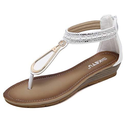 YYAMO Sandalias de Mujer Pendientes con pedrería Romana, Zapatos de Mujer Bohemia Blanca, Summer Beach...