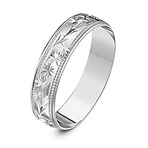 Theia Heavy Weight 5 mm D Shape with Centre Stars, Leaves Design and Millgrain Edges 9 ct White Gold Wedding Ring - J