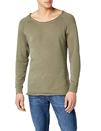 Urban Classics TB1012 Herren Sweatshirt Long Open Edge Terry Crewneck,, ,, , Gr. XX-Large, Grün (olive 176) Terry Sweatshirt