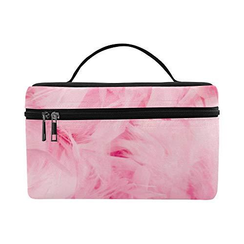 Rosa weiche Noten Feder große Kapazitäts Größen Dame Cosmetic Bag Make uporganisator Zug Toilettenartikel Kasten Brotdose für Mädchen jugendlich Frauen Reisen mit klarem Reißverschluss (Bulk Rosa Boas)