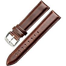 correa de 20mm marrón decente clásico superficie lisa reloj de pulsera reloj de banda para los hombres del cuero genuino de la piel de becerro