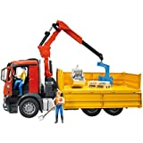 BRUDER MB Arocs Construction truck with accessories - Juguete (54,5 cm, 18,5 cm, 27 cm, Rojo, Amarillo)