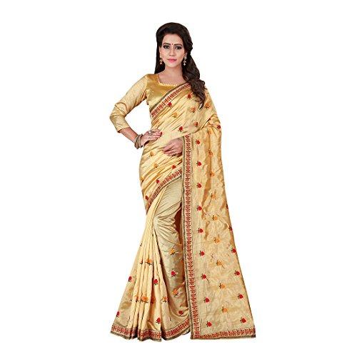 Craftsvilla Womens Satin Silk Embriodery Beige Saree With Blouse Piece