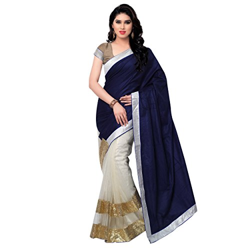 Satya Sita Velvet & Net Saree (Ss06_Navy Blue)  available at amazon for Rs.475